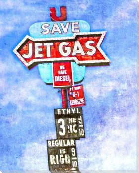 Roadside Jet Gas Wrapped Canvas Giclee Art Print Wall Art