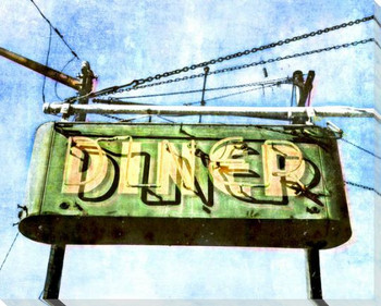 Roadside Diner 1 Wrapped Canvas Giclee Art Print Wall Art