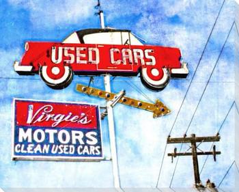 Roadside Used Cars Wrapped Canvas Giclee Art Print Wall Art