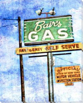 Roadside Bair's Gas Wrapped Canvas Giclee Art Print Wall Art