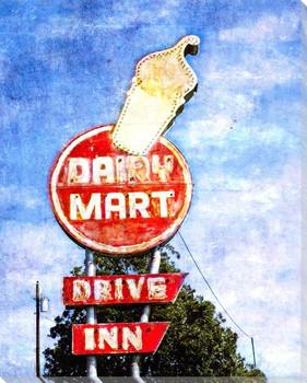 Roadside Dairy Mart Wrapped Canvas Giclee Art Print Wall Art