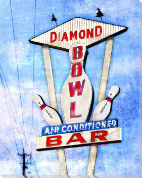 Roadside Diamond Bowl Wrapped Canvas Giclee Art Print Wall Art