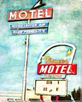 Roadside Pioneer Motel Wrapped Canvas Giclee Art Print Wall Art