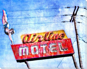 Roadside Airline Motel Wrapped Canvas Giclee Art Print Wall Art