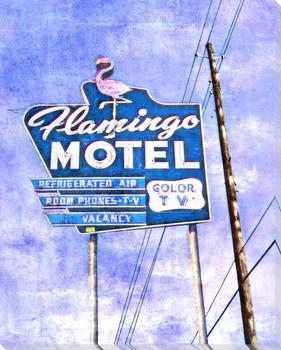 Roadside Flamingo Motel Wrapped Canvas Giclee Art Print Wall Art