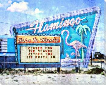 Roadside Flamingo Drive-In Wrapped Canvas Giclee Art Print Wall Art