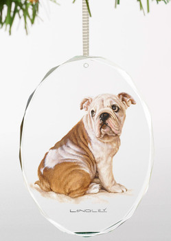 Bull Dog Oval Glass Christmas Tree Ornaments, Set of 6