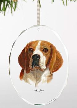 Beagle Dog Oval Glass Christmas Tree Ornaments, Set of 6