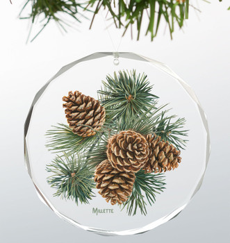 Four Pinecones Round Glass Christmas Tree Ornaments, Set of 6