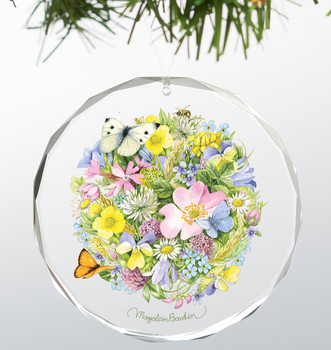 Springtime Posy Round Glass Christmas Tree Ornaments, Set of 6