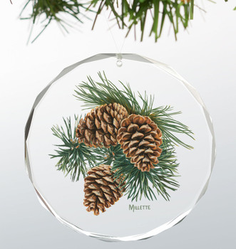 Three Pinecones Round Glass Christmas Tree Ornaments, Set of 6