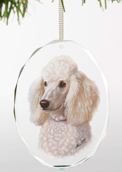 White Poodle Dog Oval Glass Christmas Tree Ornaments, Set of 6