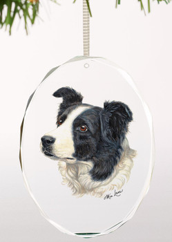 Border Collie Dog Oval Glass Christmas Tree Ornaments, Set of 6
