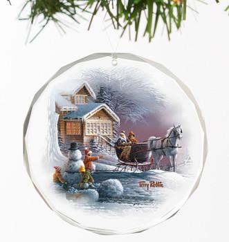 Winter Wonderland Round Glass Christmas Tree Ornaments, Set of 6