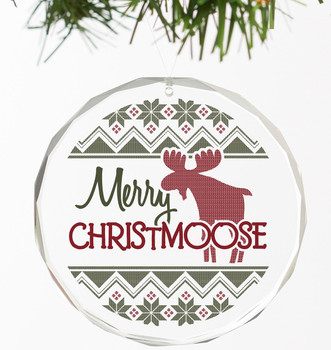 Merry Christmoose Round Glass Christmas Tree Ornaments, Set of 6
