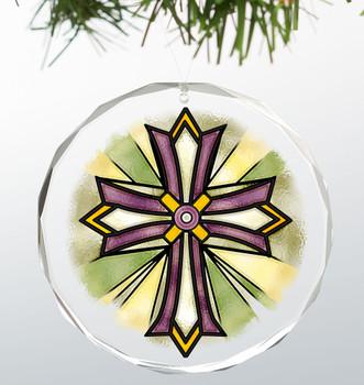 Royal Burst Cross Round Glass Christmas Tree Ornaments, Set of 6