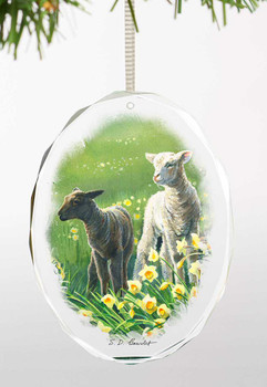 Lambs and Daffodils Oval Glass Christmas Tree Ornaments, Set of 6