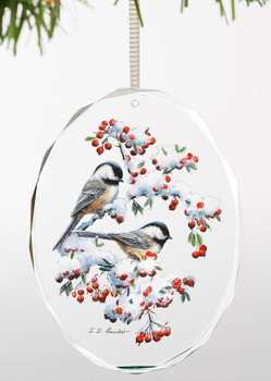 Winter Morning Chickadee Birds Oval Glass Christmas Tree Ornaments, Set of 6