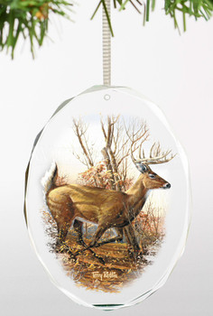 Autumn Run Whitetail Deer Oval Glass Christmas Tree Ornaments, Set of 6