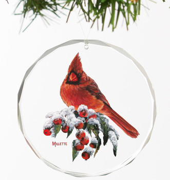 Winter Gems Cardinal Bird Round Glass Christmas Tree Ornaments, Set of 6