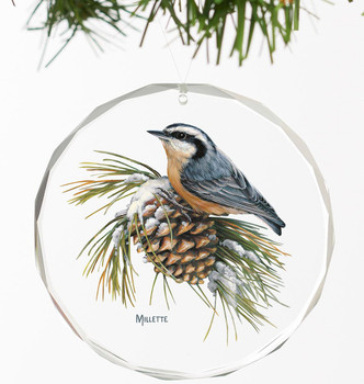 Winter Gems Nuthatch Bird Round Glass Christmas Tree Ornaments, Set of 6