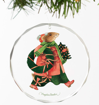 Vera the Mouse Holiday Greenery Round Glass Christmas Tree Ornaments, Set of 6