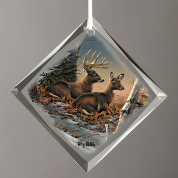 Evening with Friends Deer Diamond Shape Glass Christmas Tree Ornaments, Set of 6