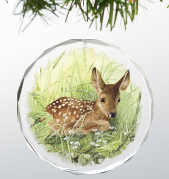 Waiting for Mom Fawn Round Glass Christmas Tree Ornaments, Set of 6