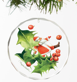 Santa Playing with Holly I Round Glass Christmas Tree Ornaments, Set of 6