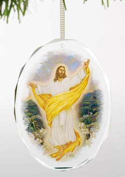 The Resurrection Jesus Tear Drop Glass Christmas Tree Ornaments, Set of 6