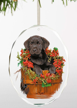 Holiday Surprise Black Lab Puppy Oval Glass Christmas Tree Ornaments, Set of 6