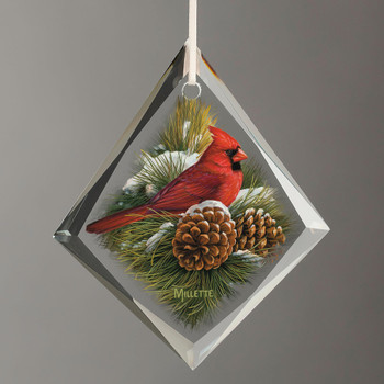 December Dawn Cardinal Bird Tear Drop Glass Christmas Tree Ornaments, Set of 6