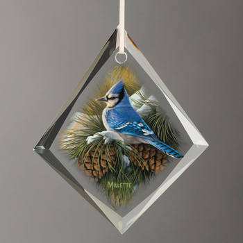 December Dawn Blue Jay Bird Tear Drop Glass Christmas Tree Ornaments, Set of 6