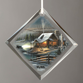 Evening with Friends Cabin Diamond Shape Glass Christmas Tree Ornaments, Set of 6