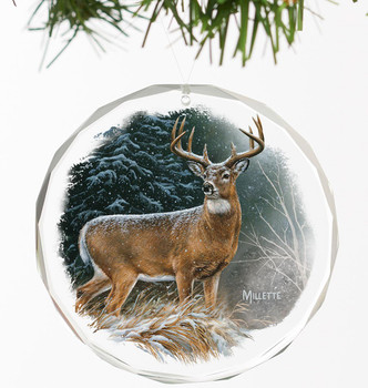 In the Storm Whitetail Deer Round Glass Christmas Tree Ornaments, Set of 6
