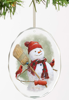 Snowman with Cardinal Birds Oval Glass Christmas Tree Ornaments, Set of 6