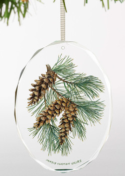 Fruits of the White Pine II Oval Glass Christmas Tree Ornaments, Set of 6