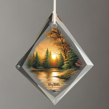 Evening Solitude Sunset Tear Drop Glass Christmas Tree Ornaments, Set of 6