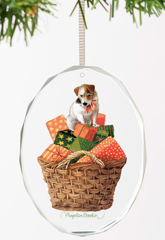 Holiday Treasures Dog with Presents Oval Glass Christmas Tree Ornaments, Set of 6