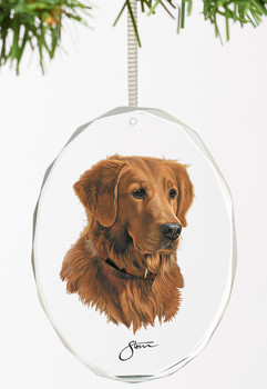 Loyal Companion Golden Retriever Dog Oval Glass Christmas Tree Ornaments, Set of 6