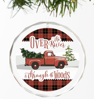 Over the River and Through the Woods Truck Round Glass Christmas Tree Ornaments, Set of 6