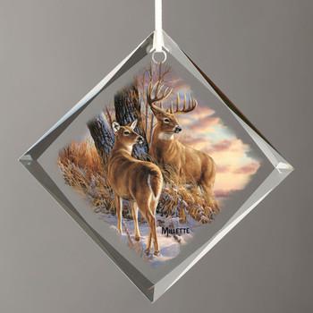 Twilight Escapade Whitetail Deer Diamond Shape Glass Christmas Tree Ornaments, Set of 6
