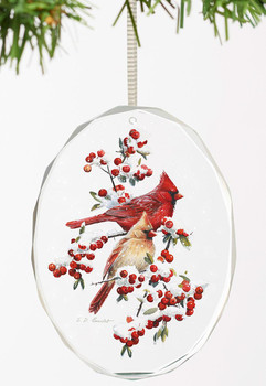 Winter Jewels Cardinal Birds Oval Glass Christmas Tree Ornaments, Set of 6