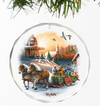 The Pleasures of Winter Round Glass Christmas Tree Ornaments, Set of 6