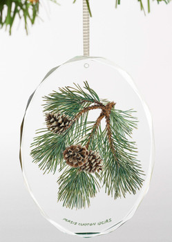 Fruits of the Red Pine I Oval Glass Christmas Tree Ornaments, Set of 6