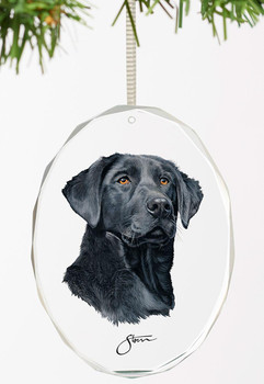 Loyal Companion Black Lab Dog Oval Glass Christmas Tree Ornaments, Set of 6