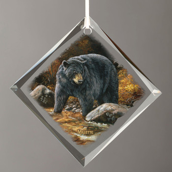 Streamside Black Bear Diamond Shape Glass Christmas Tree Ornaments, Set of 6