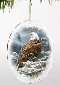 Spirit of the Wild Bald Eagle Bird Oval Glass Christmas Tree Ornaments, Set of 6