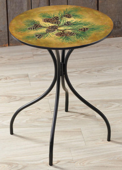 Fruits of the Red Pine Metal Side Table with Printed Top by Persis Clayton Weirs