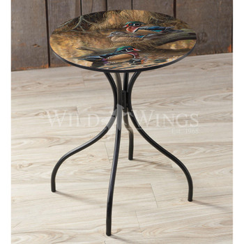 Sitting Pretty Wood Ducks Metal Side Table with Printed Top by Rosemary Millette